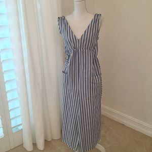 ZARA COTTON STRIPPED JUMPSUIT BLUE & WHITE